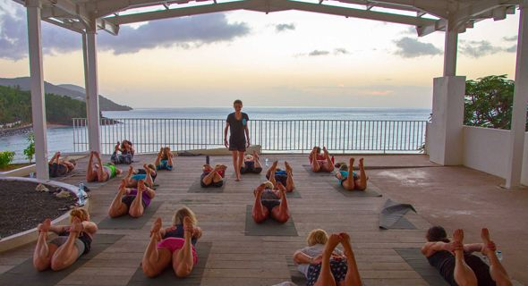yoga class by the ocean